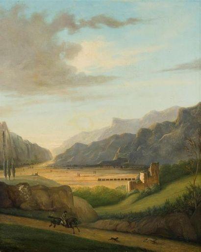 ÉCOLE VERS 1840-1850, Deux paysages animés...