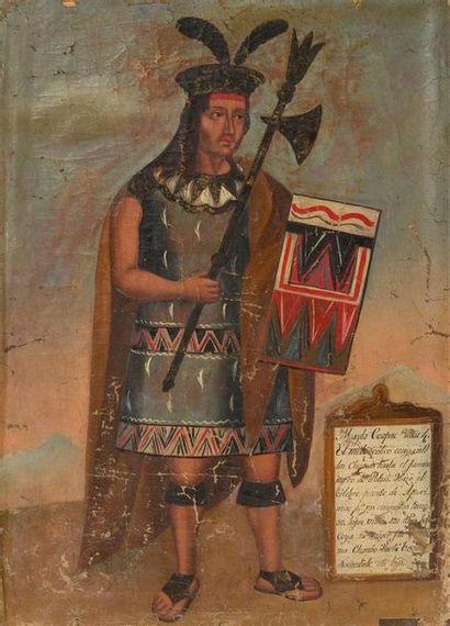 ECOLE D'AMERIQUE DU SUD DU XIXe SIECLE Portraits d'empereurs incas Suite de onze...