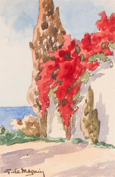 G. DE MAGNIN Paysage orientaliste Deux aquarelles...