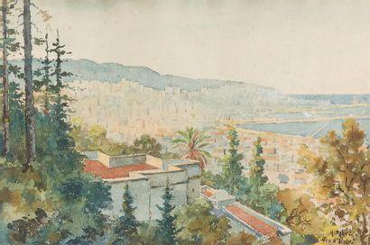 HENRI FABRE (1880-1950) Vue d'Alger Aquarelle,...