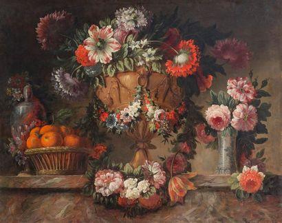 ATTRIBUE A CLAUDE HUILLIOT (1632-1702) Bouquets...