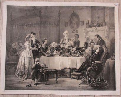 Ensemble de gravures et lithographies XIXème comprenant : cinq gravures de mode...
