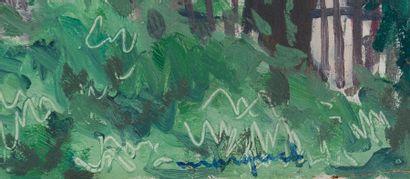 Albert MARQUET (1875-1947) Bassin d'Arcachon, jardin au Pyla, 1935. Huile sur panneau...