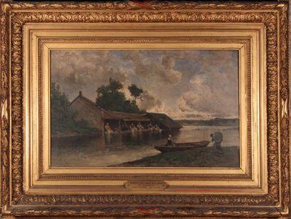 Eugène CICERI (1813-1890) Lavandières à Douville. Huile sur toile, signée en bas...