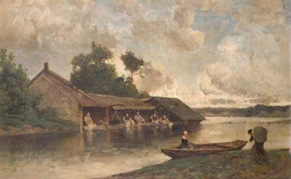 Eugène CICERI (1813-1890) Lavandières à Douville....