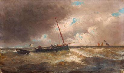 Émile GODCHAUX (1860-1938) Marine. Huile...