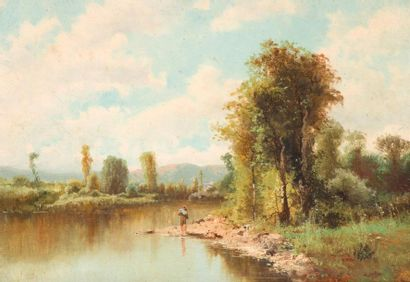 Émile GODCHAUX (1860-1938) Bords de rivière....