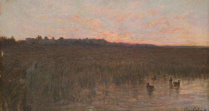 Julien CALVÉ (1851-1924) Soleil couchant...