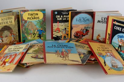Bandes dessinées  TINTIN  Réunion de 20 volumes...