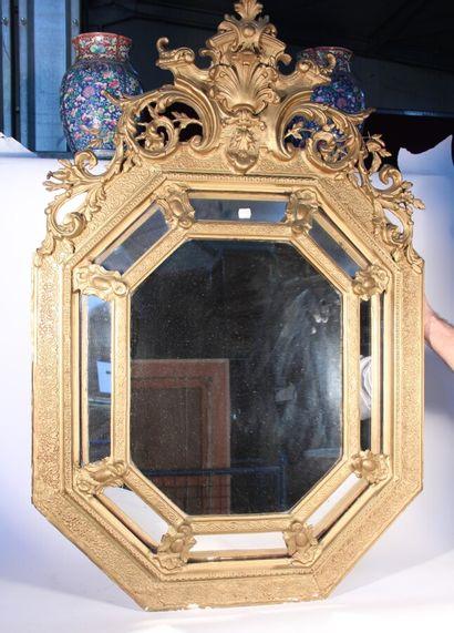 Miroir octogonal à parcloses, cadre en bois...