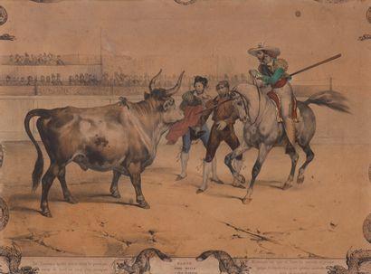 ADAM (Victor)  Gravure XIXème en couleurs...