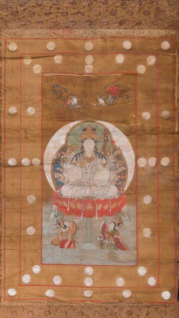 THANGKA A L'ENCRE ET COULEURS SUR SOIE  Sino-tibétain,...