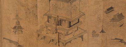 PEINTURE A L'ENCRE SUR PAPIER  Chine, XIXème...