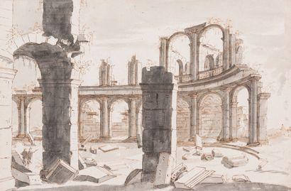 ECOLE FLAMANDE DU XVIIe SIECLE  Ruines d'un...