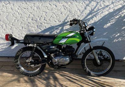 KAWASAKI KM 90 type MC vélomoteur MTT1  noir, vert et blanc, 2 places du 08/06/1979...