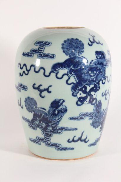 Pot à gingembre en porcelaine bleu blanc...