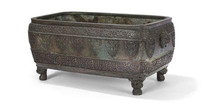 Jardinière en bronze  Chine  H. : 16 cm,...