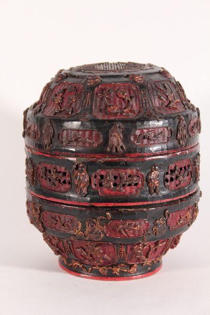 Boîte couverte en bois laqué noir, rouge...