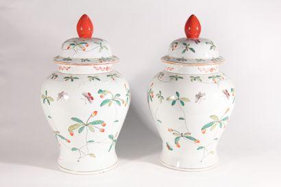Paire de potiches en porcelaine à décor de...