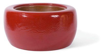 Brasero en bois laqué rouge et cuir  Japon,...