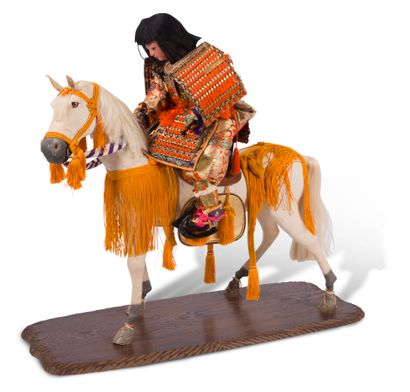 Poupée sur son cheval  Japon, XXème siècle...