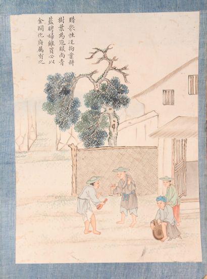 Ensemble de six peintures sur papier