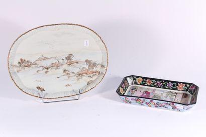 Plateau en porcelaine de Satsuma à décor...