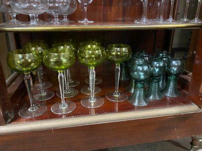 VAL SAINT LAMBERT  10 verres à pied en cristal...