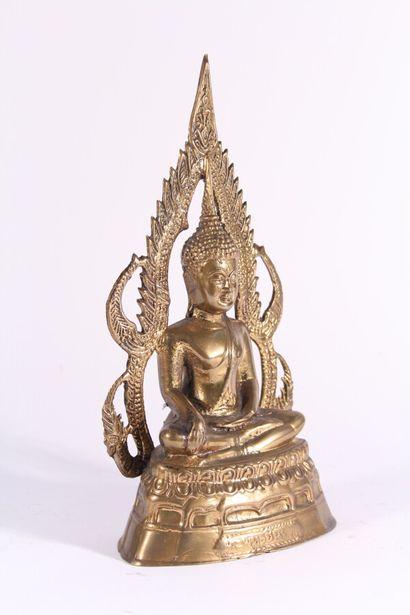 Bouddha en bronze doré  Asie, début XXème...
