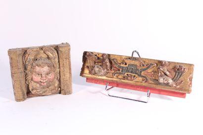 Éléments d'ornementation en bois sculpté,...