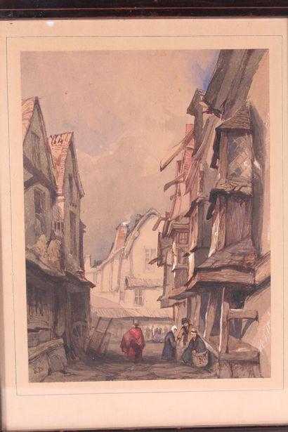 """Ecole Fin XIXème siècle  """"Rue animée""""  Aquarelle et gouache, signée du monogramme..."""