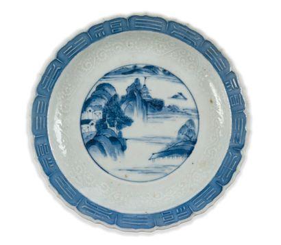 Coupelle en porcelaine à décor bleu blanc...