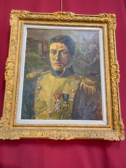 """Ecole Moderne  """"Portrait de militaire""""  Huile sur toile  72 x 58,5 cm"""
