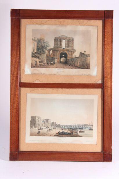"""Six lithographies couleurs extraites de """"France en miniature""""  """"Vue du Grand Théâtre"""",..."""