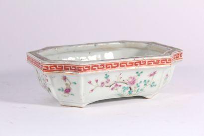 Pot à bonzaï en porcelaine à décor polychrome...