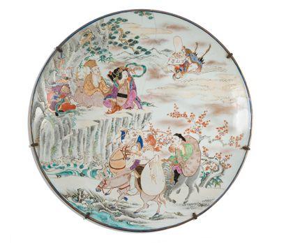 Grand plat en porcelaine  Japon, époque Meiji...