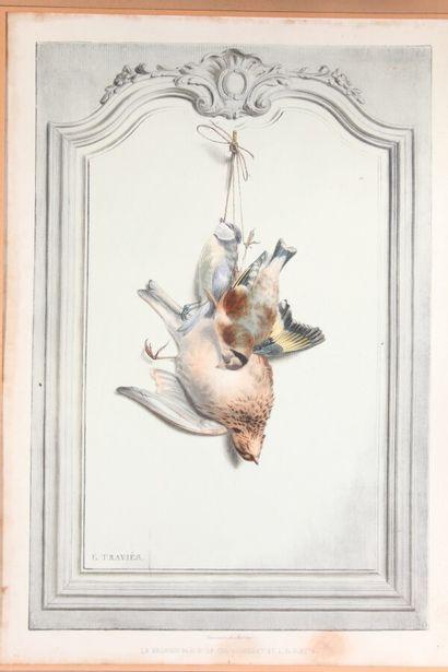 """D'après TRAVIÈS  Deux lithographies couleurs de la série souvenirs de chasse  """"La..."""