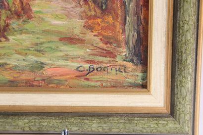 """Ecole Moderne Régionale  """"Chemin dans les pins""""  Huile sur toile signée en bas à..."""