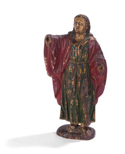 Sujet en bois sculpté polychrome