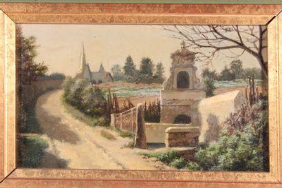 """Ecole Début XXème siècle  """"L'entrée du village""""  Huile sur carton  12,5 x 22 cm..."""
