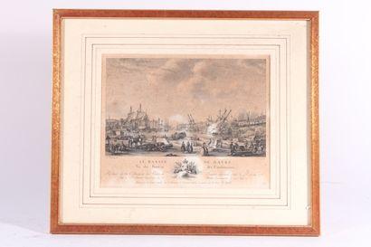 """D'après Nicolas OZANNE,  Quatre gravures en noir  """"Le port de Marseille"""", """"Le port..."""