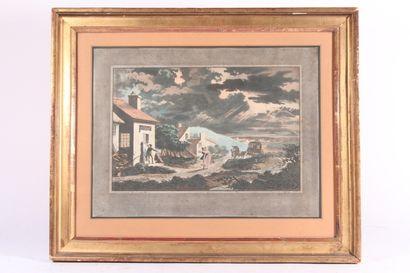 """D'après Philibert-Louis Debucourt  """"L'orage"""" et """"Village enneigé""""  Deux gravures..."""