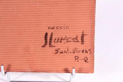 D'après Jean LURÇAT  Carreau en céramique à décor de visage et feuillage  20 x 20...