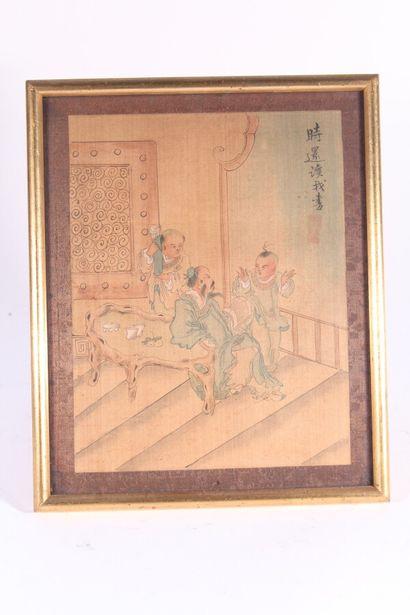 Quatre peintures sur soie à décor d'intérieurs et paysages animés  Chine, XXème...