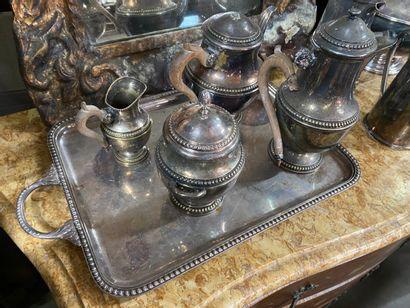 Service à thé et café en métal argenté, décor...