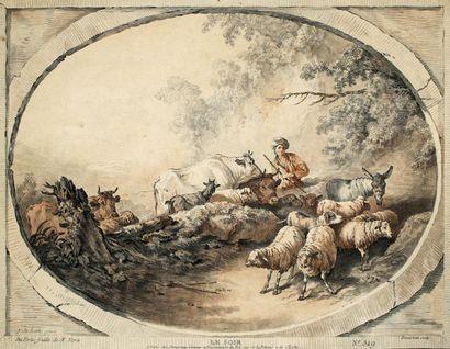 GILLES-ANTOINE DEMARTEAU (1750-1802)L'après-midi...