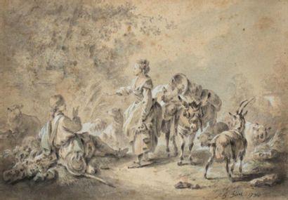 ATTRIBUÉ À JEAN BAPTISTE HUET (PARIS 1745-1811)...