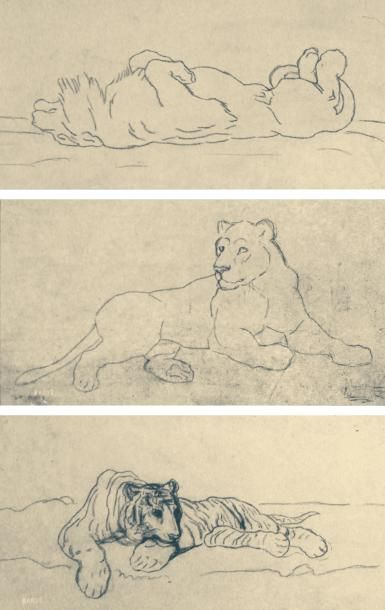 ANTOINE LOUIS BARYE (PARIS 1795-1875)Trois...