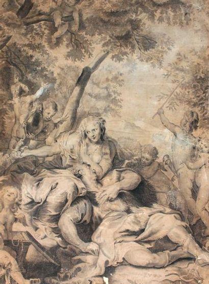 Ecole FLAMANDE Du XVIIIème Scène mythologique...