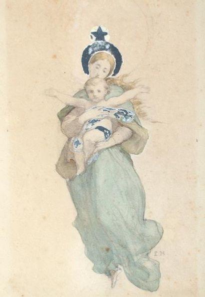 Ernest HEBERT (1817-1908)Vierge et Enfant,...